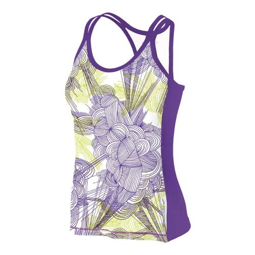Womens Brooks Glycerin Print Support Tank II Sport Top Bras - Citron Print L