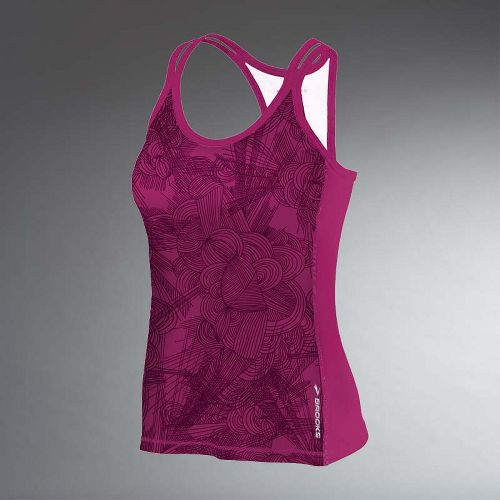 Womens Brooks Glycerin Print Support Tank II Sport Top Bras - Plum Print XS