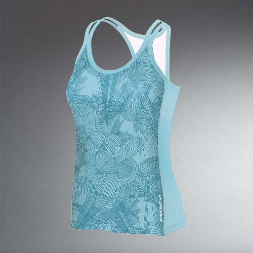 Womens Brooks Glycerin Print Support Tank II Sport Top Bras - Tourmaline Print L
