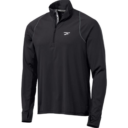 Mens Brooks Infiniti Hybrid Wind Shirt Long Sleeve 1/2 Zip Technical Tops - Black S ...