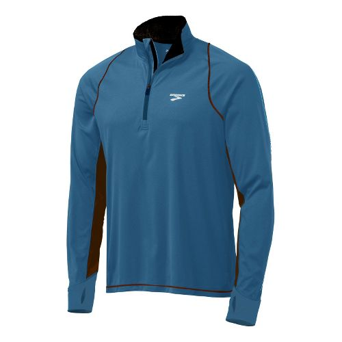 Mens Brooks Infiniti Hybrid Wind Shirt Long Sleeve 1/2 Zip Technical Tops - Galaxy/Midnight L ...