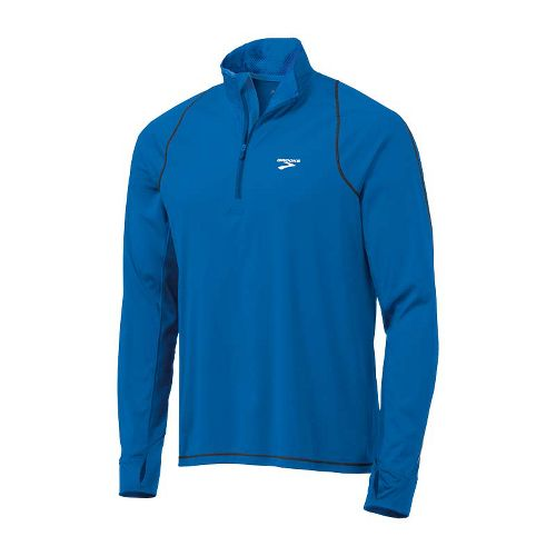 Mens Brooks Infiniti Hybrid Wind Shirt Long Sleeve 1/2 Zip Technical Tops - Skydiver/Black 1X ...