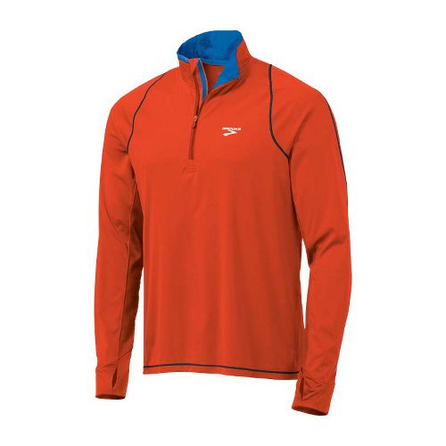 Mens Brooks Infiniti Hybrid Wind Shirt Long Sleeve 1/2 Zip Technical Tops - Torch/Anthracite S ...