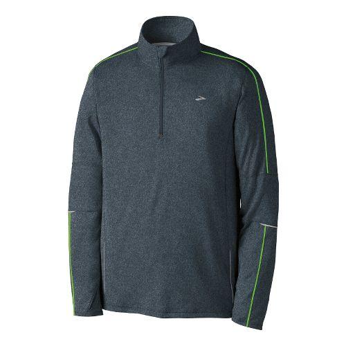 Mens Brooks Essential Run Long Sleeve 1/2 Zip Technical Tops - Anthracite/Brite Green XL