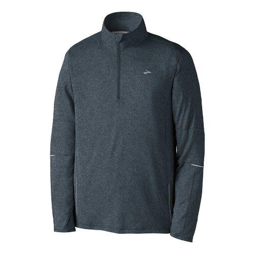 Mens Brooks Essential Run Long Sleeve 1/2 Zip Technical Tops - Anthracite/Cyan XXL