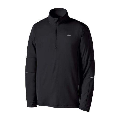 Mens Brooks Essential Run Long Sleeve 1/2 Zip Technical Tops - Black L