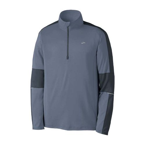Mens Brooks Essential Run Long Sleeve 1/2 Zip Technical Tops - Flint/Anthracite M