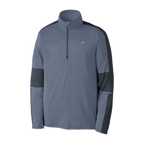 Mens Brooks Essential Run Long Sleeve 1/2 Zip Technical Tops - Flint/Anthracite XXL