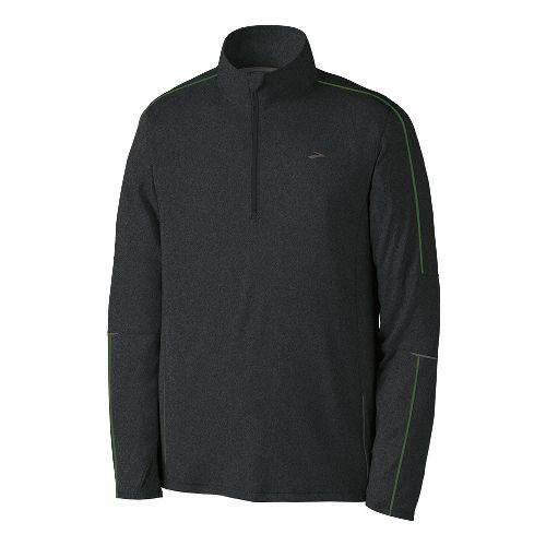 Mens Brooks Essential Run Long Sleeve 1/2 Zip Technical Tops - Heather Black L