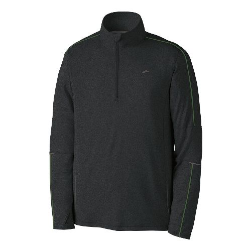 Mens Brooks Essential Run Long Sleeve 1/2 Zip Technical Tops - Heather Black XL