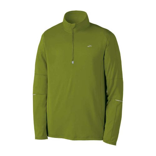 Mens Brooks Essential Run Long Sleeve 1/2 Zip Technical Tops - Moss S