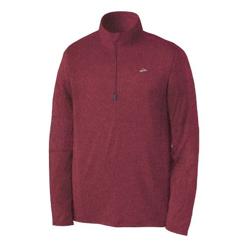 Mens Brooks Essential Run Long Sleeve 1/2 Zip Technical Tops - Matador S