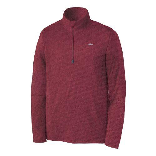 Mens Brooks Essential Run Long Sleeve 1/2 Zip Technical Tops - Matador XL
