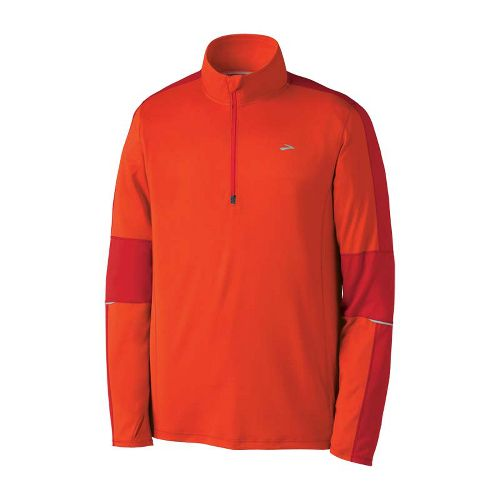 Mens Brooks Essential Run Long Sleeve 1/2 Zip Technical Tops - Torch/Lava XL