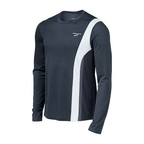 Mens Brooks Rev II Long Sleeve No Zip Technical Tops - Anthracite/White XL