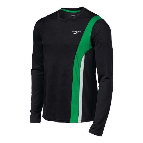 Mens Brooks Rev II Long Sleeve No Zip Technical Tops - Black/Fern S