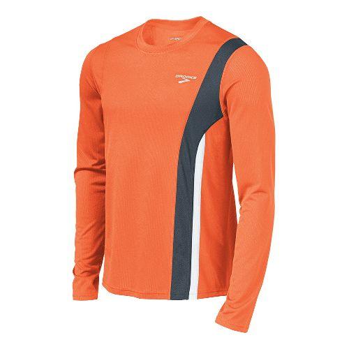 Mens Brooks Rev II Long Sleeve No Zip Technical Tops - Brite Orange/Anthracite M