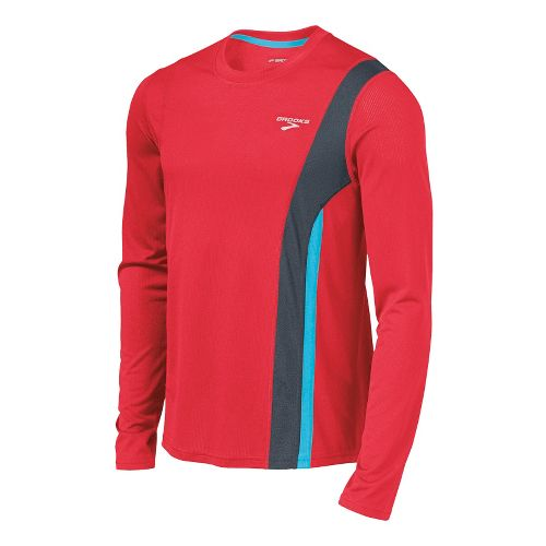 Mens Brooks Rev II Long Sleeve No Zip Technical Tops - Lava/Anthracite M