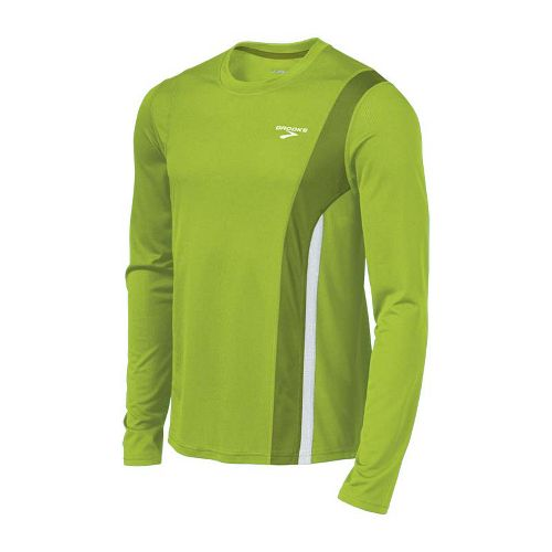 Mens Brooks Rev II Long Sleeve No Zip Technical Tops - Lime Green/Moss XL