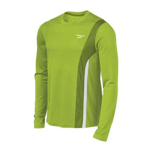 Mens Brooks Rev II Long Sleeve No Zip Technical Tops - Lime Green/Moss XXL