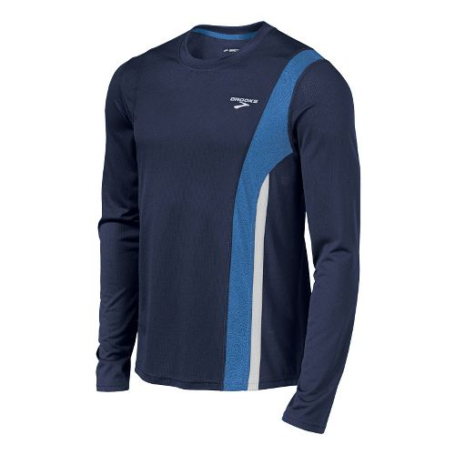 Mens Brooks Rev II Long Sleeve No Zip Technical Tops - Midnight/Galaxy M