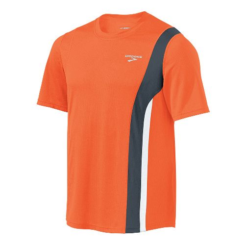 Mens Brooks Rev II Short Sleeve Technical Tops - Brite Orange/Anthracite S