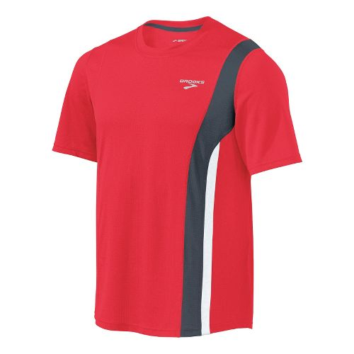 Mens Brooks Rev II Short Sleeve Technical Tops - Lava/Anthracite S