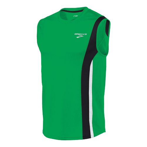 Mens Brooks Rev II Sleeveless Technical Tops - Fern/Black M