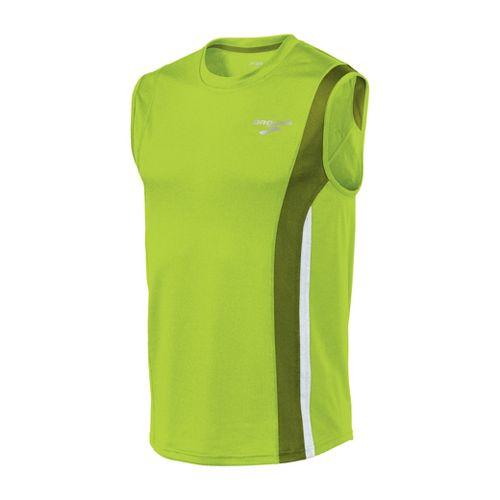 Mens Brooks Rev II Sleeveless Technical Tops - Lime Green/Moss XL