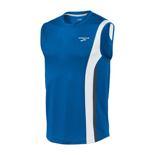 Mens Brooks Rev II Sleeveless Technical Tops - Skydiver/White S