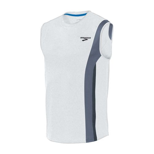 Mens Brooks Rev II Sleeveless Technical Tops - White/Flint XXL