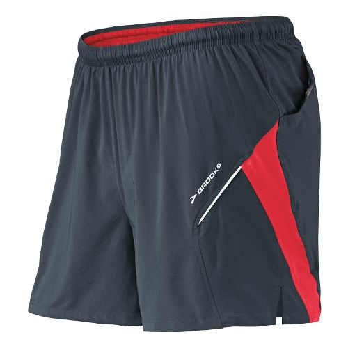 Mens Brooks Sherpa 4.5 inch 2-in-1 Shorts - Anthracite/Lava S