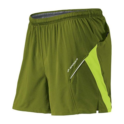 Mens Brooks Sherpa 4.5 inch 2-in-1 Shorts - Moss/Lime Green M