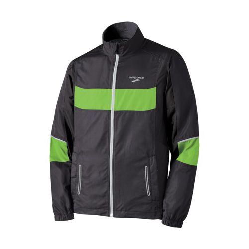 Mens Brooks Nightlife Essential Run Jacket II Running Jackets - Black/Brite Green XXL