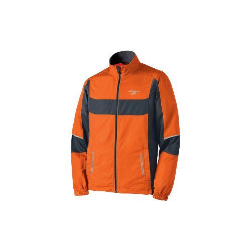 Mens Brooks Nightlife Essential Run Jacket II Running Jackets - Brite Orange/Anthracite S