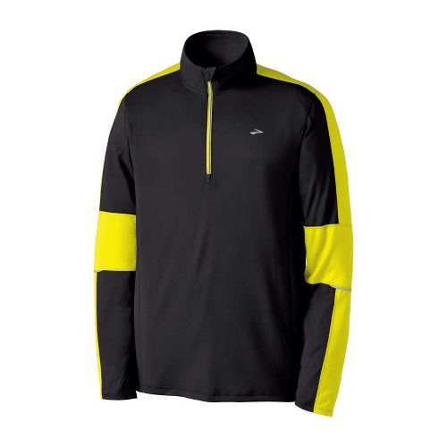 Mens Brooks Nightlife Essential Run Long Sleeve 1/2 Zip Technical Tops - Black/Nightlife M