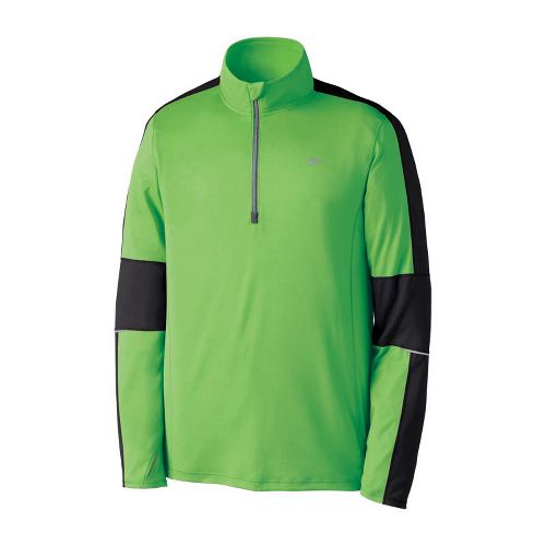 Mens Brooks Nightlife Essential Run Long Sleeve 1/2 Zip Technical Tops - Brite Green S ...