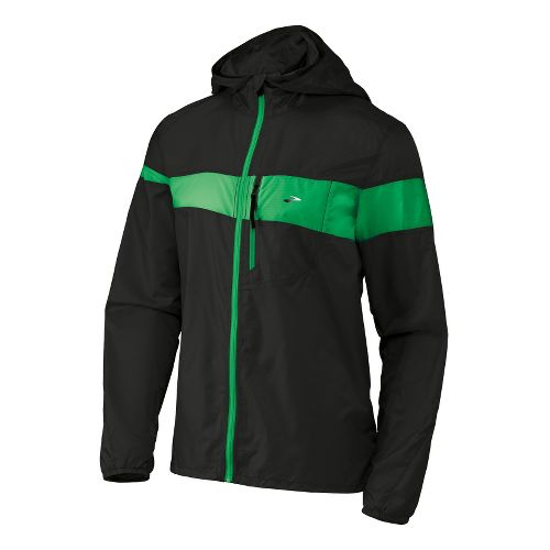 Mens Brooks Nightlife LSD Lite III Running Jackets - Black/Fern S