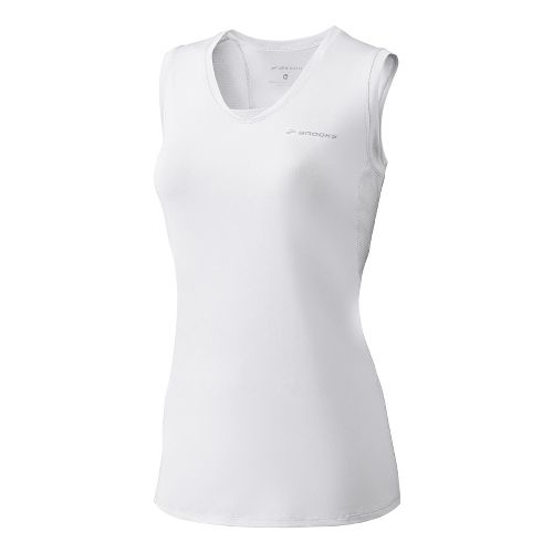 Womens Brooks Equilibrium Racerback II Sleeveless Technical Tops - White L
