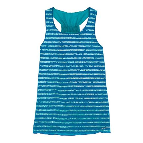 Womens Brooks D'lite Reversible Racerback Tanks Technical Tops - Caribbean/Electric White Stripe XL
