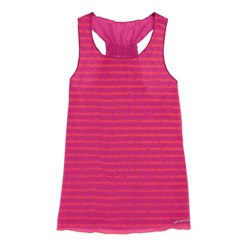 Womens Brooks D'lite Reversible Racerback Tanks Technical Tops - Fuchsia/Fuchsia Poppy Stripe L