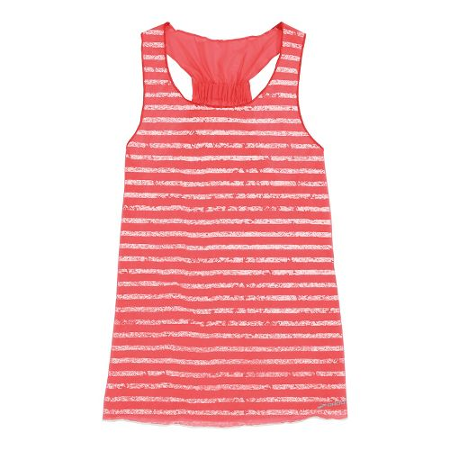 Womens Brooks D'lite Reversible Racerback Tanks Technical Tops - Poppy/Poppy White Stripe S