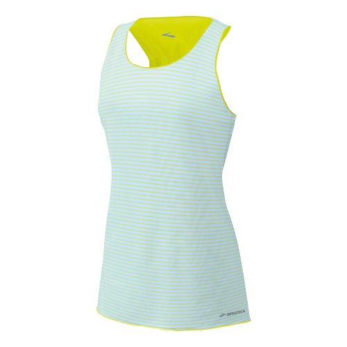 Womens Brooks D'lite Reversible Racerback Tanks Technical Tops - Sea Foam/Nightlife Stripe L