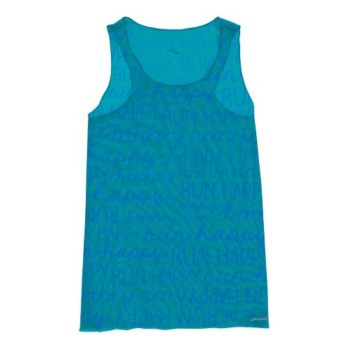 Womens Brooks D'lite Micro Mesh Racerback Tanks Technical Tops - Caribbean Run Happy L