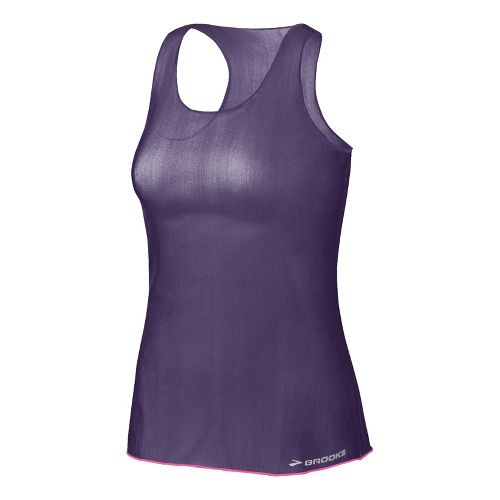 Womens Brooks D'lite Micro Mesh Racerback Tanks Technical Tops - Eggplant XL
