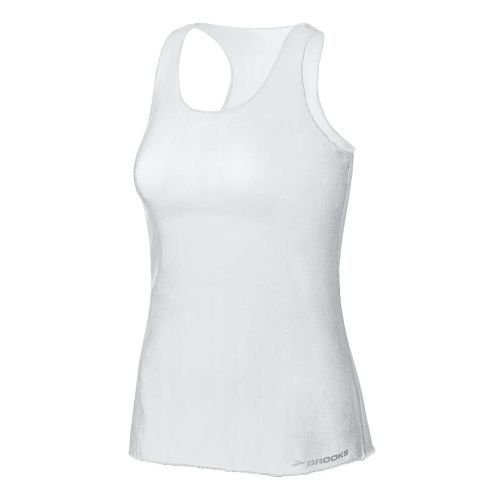 Womens Brooks D'lite Micro Mesh Racerback Tanks Technical Tops - White XL