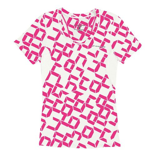 Womens Brooks Equilibrium II Short Sleeve Technical Tops - Bright Pink Digi Print/White L