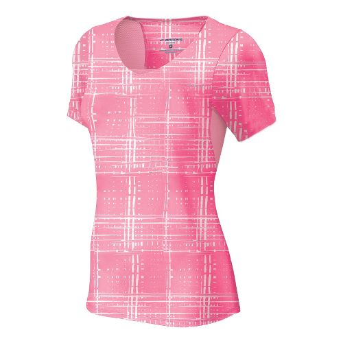 Womens Brooks Equilibrium II Short Sleeve Technical Tops - Brite Pink Hatch S