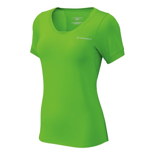 Womens Brooks Equilibrium II Short Sleeve Technical Tops - Brite Green/Brite White XS