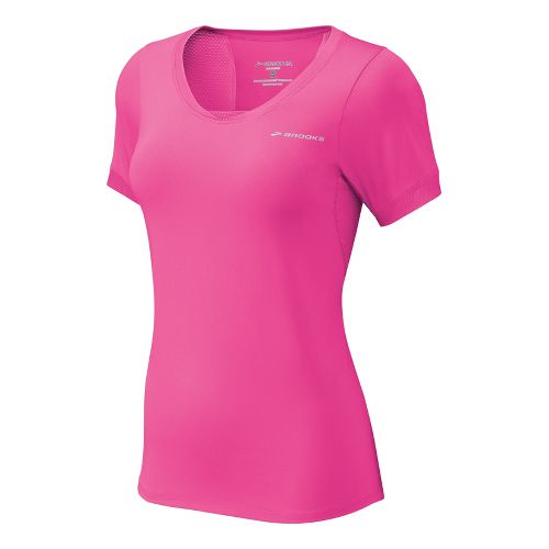 Womens Brooks Equilibrium II Short Sleeve Technical Tops - Brite Pink/Nightlife M